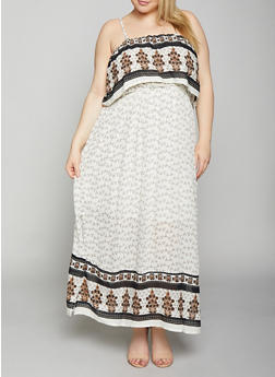 Plus Size Border Print Maxi Dress - 8476063509147