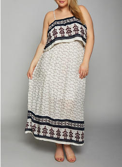 Plus Size Border Print Maxi Dress - 8476063509147