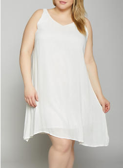 Plus Size Crochet Back Shift Dress - 8476063509149