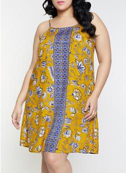 Plus Size Floral Border Print Shift Dress - 8476063509150