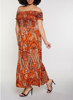 Plus Size Paisley Smocked Off the Shoulder Maxi Dress - 8476063509152