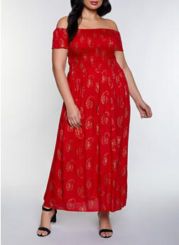 Plus Size Paisley Print Smocked Maxi Dress - 8476063509206