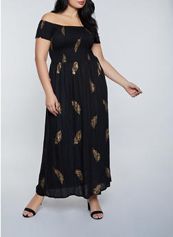 Plus Size Smocked Off the Shoulder Printed Maxi Dress - 8476063509207