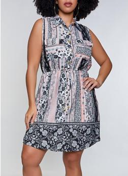 Plus Size Border Print Dress - 8476063509213