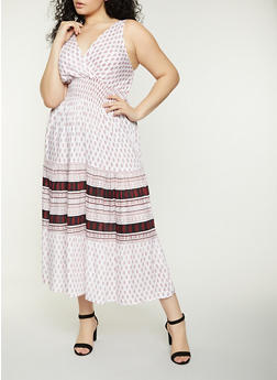 Plus Size Border Print Smocked Waist Maxi Dress - 8476063509216