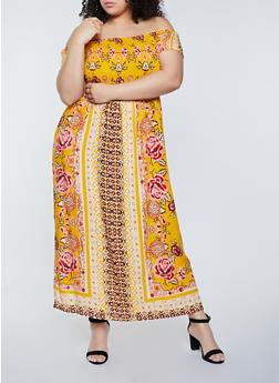 Plus Size Smocked Off the Shoulder Maxi Dress - 8476063509219