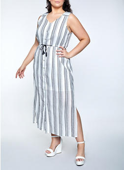Plus Size Lurex Striped Skater Dress - 8476063509228