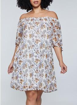 Plus Size Printed Lurex Peasant Dress - 8476063509238