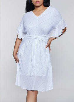 Plus Size Lurex Tie Waist Dress - 8476063509915