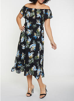 Plus Size Floral Off the Shoulder Dress - 8476064467543