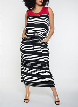 Plus Size Striped Maxi Tank Dress - 8476065241386