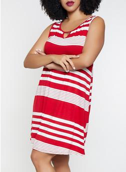 Plus Size Striped Keyhole Tank Dress - 8476065241492
