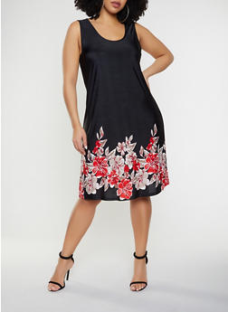 Plus Size Dimensional Floral Print Shift Dress - 8476065244635