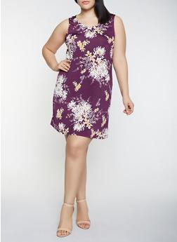 Plus Size Dimensional Floral Print Shift Dress - MUSTARD - 8476065244635