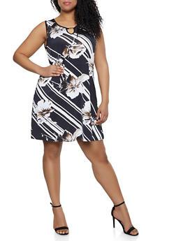 Plus Size Floral Diagonal Stripe Trapeze Dress - 8476065246653