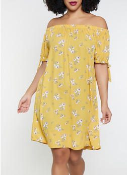 Plus Size Floral Off the Shoulder Dress - 8476072681096