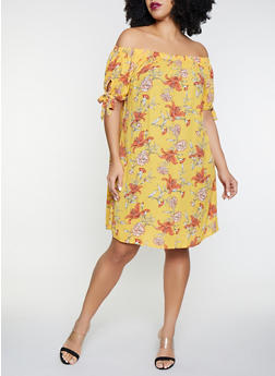 Plus Size Printed Off the Shoulder Dress - 8476072681099