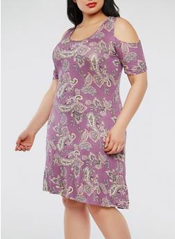 Plus Size Paisley Print Cold Shoulder Dress - 8476074012021