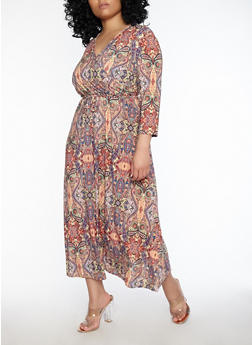 Plus Size Printed Faux Wrap Dress - 8476074014190