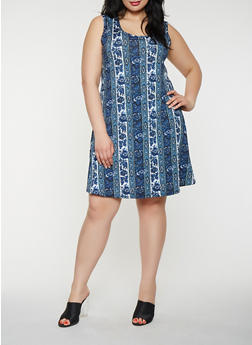 Plus Size Printed Tank Midi Dress - 8476074014244
