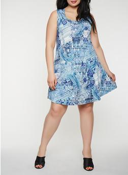Plus Size Printed Tank Midi Dress - BLUE - 8476074014244