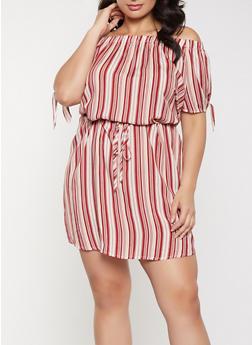 Plus Size Striped Off the Shoulder Tie Waist Dress - 8476074734355