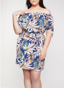 Plus Size Off the Shoulder Belted Dress - 8476074735355