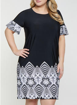 Plus Size Border Print Dress - 8476074921188