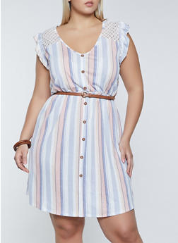 Plus Size Striped Belted Skater Dress - 8476075173169