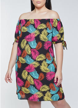 Plus Size Feather Print Off the Shoulder Shift Dress - 8476075221167