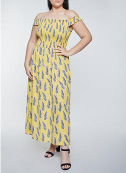 Plus Size Feather Print Off the Shoulder Maxi Dress - 8476075221198
