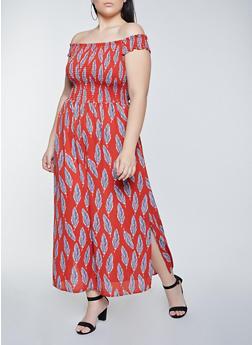 Plus Size Feather Print Off the Shoulder Maxi Dress - 8476075221198
