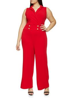 Plus Size Faux Pearl Button Sailor Jumpsuit - 8478015999720