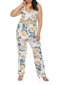 Plus Size Plunge Neck Floral Jumpsuit - 8478020628653