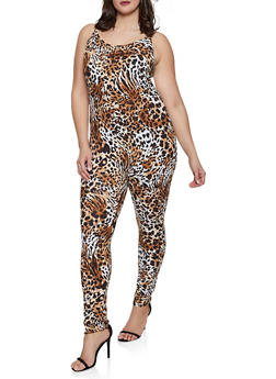 Plus Size Cheetah Print Cami Catsuit - 8478062126138