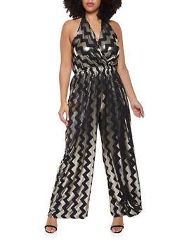 Plus Size Foil Print Faux Wrap Jumpsuit - 8478065241542