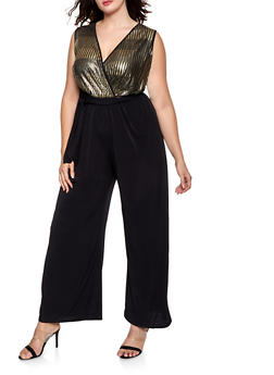 Plus Size Foil Faux Wrap Jumpsuit - 8478065241552
