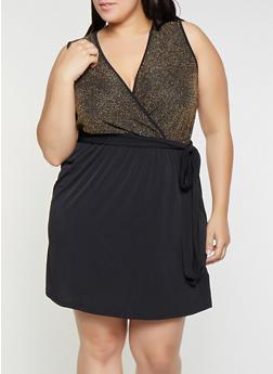 Plus Size Shimmer Knit Faux Wrap Dress - 8478065241557