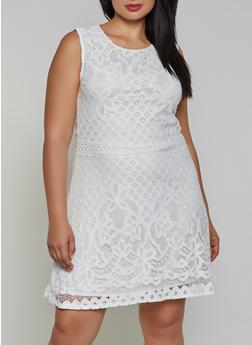 Plus Size Lace Skater Dress - 8479064464575