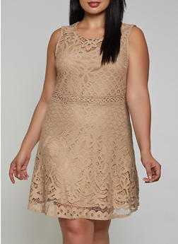 Plus Size Lace Skater Dress - 8479064464575