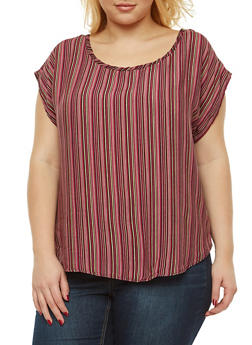 Plus Size Vertical Stripe Top - 9400020626146