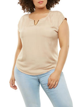 Plus Size Metallic Neck Detail Top - 9400020627854