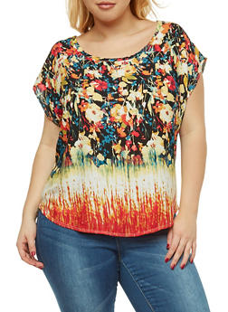 Plus Size Floral Top - 9400020628485
