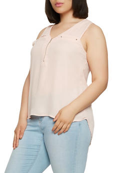 Plus Size Zip Front High Low Top - 9400051065415