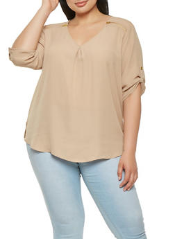 Plus Size Zipper Detail Crepe Knit Blouse - 9400051067815