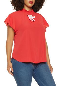 Plus Size Smocked Neck Flutter Sleeve Top - 9406020623331