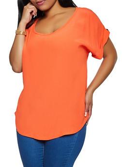 Plus Size Scoop Neck Blouse - 9406020626372