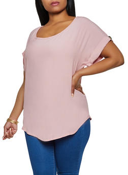 Plus Size Scoop Neck Blouse - 9406020626372
