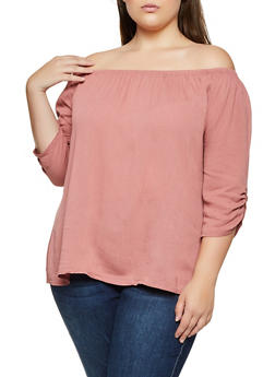 Plus Size Ruched Off the Shoulder Gauze Knit Top - 9406020626935