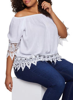 Plus Size Off the Shoulder Crochet Trim Top | 9406038340695 - 9406038340695